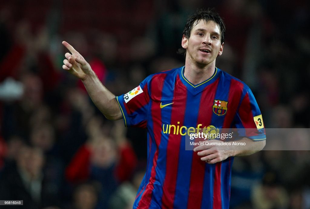 Lionel Messi of FC Barcelona celebrates after scoring during the La Liga match between Barcelona and Sevilla at the Camp Nou stadium on January 16, 2010 in Barcelona, Spain.