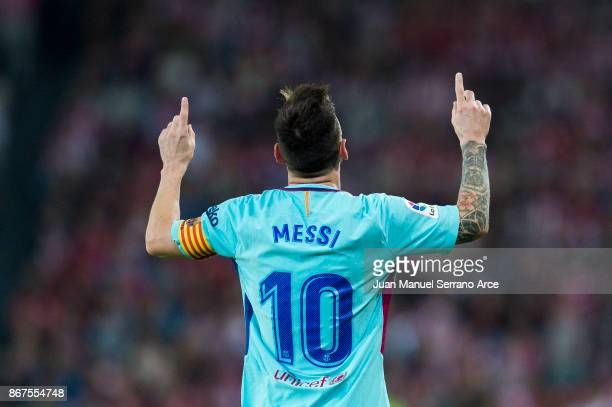 Lionel Messi of FC Barcelona celebrates after scoring goal during the La Liga match between Athletic Club Bilbao and FC Barcelona at San Mames...