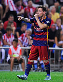 Lionel Messi of FC Barcelona celebrates after scoring his team's 2nd goal goal during the La Liga match between Club Atletico de Madrid and FC...
