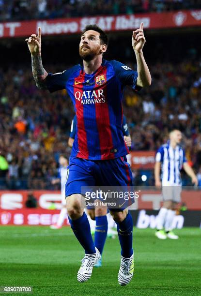 Lionel Messi of FC Barcelona celebrates after scoring his team's first goal during the Copa Del Rey Final between FC Barcelona and Deportivo Alaves...