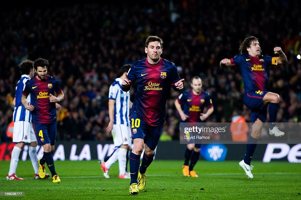 Lionel Messi of FC Barcelona celebrates after scoring his team's fourth goal during the La Liga match between FC Barcelona and RCD Espanyol at Camp Nou on January 6, 2013 in Barcelona, Spain.