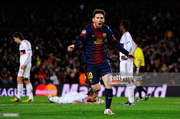 Lionel Messi of FC Barcelona celebrates after scoring his team's second goal during the UEFA Champions League round of 16 second leg match between FC...
