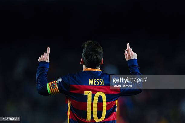 Lionel Messi of FC Barcelona celebrates after scoring his team's second goal during the UEFA Champions League Group E match between FC Barcelona and...