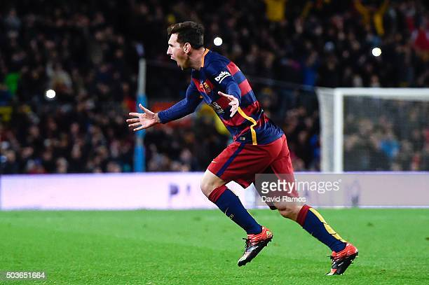 Lionel Messi of FC Barcelona celebrates after scoring his team's second goal during the Copa del Rey Round of 16 first leg match between FC Barcelona...