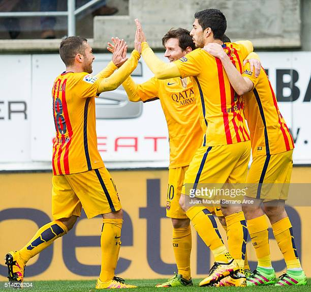 Lionel Messi of FC Barcelona celebrates after scoring his team's second goal during the La Liga match between SD Eibar and FC Barcelona at Ipurua...