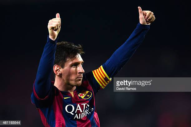 Lionel Messi of FC Barcelona celebrates after scoring his team's third goal during the Copa del Rey Round of 16 First Leg match between FC Barcelona...