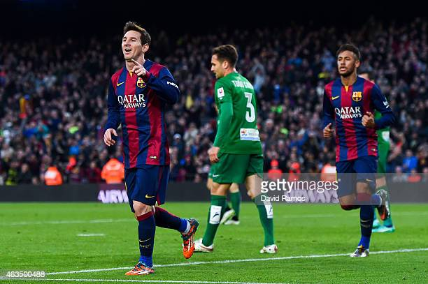 Lionel Messi of FC Barcelona celebrates after scoring his team's third goal during the La Liga match between FC Barcelona and Levante UD at Camp Nou...