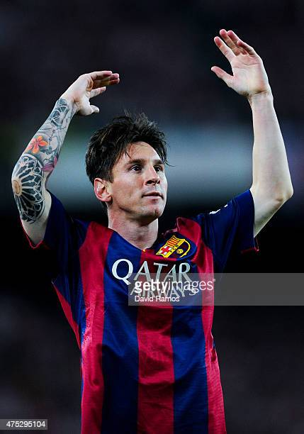 Lionel Messi of FC Barcelona celebrates after scoring the opening goal during the Copa del Rey Final match between FC Barcelona and Athletic Club at...