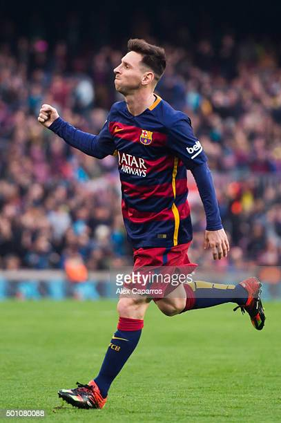 Lionel Messi of FC Barcelona celebrates after scoring the opening goal during the La Liga match between FC Barcelona and RC Deportivo La Coruna at...