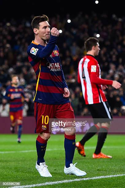 Lionel Messi of FC Barcelona celebrates after scoring the opening goal from the penalty spot during the La Liga match between FC Barcelona and...