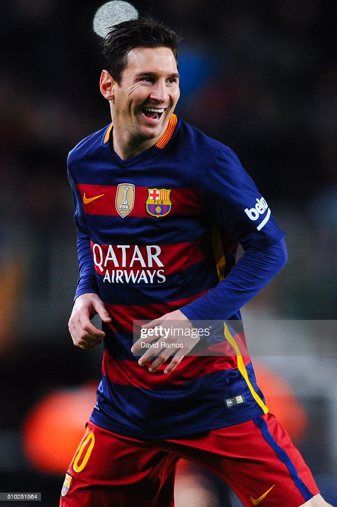 Lionel Messi of FC Barcelona celebrates after scoring the opening goal during the La Liga match between FC Barcelona and Celta Vigo at Camp Nou on February 14, 2016 in Barcelona, Spain.