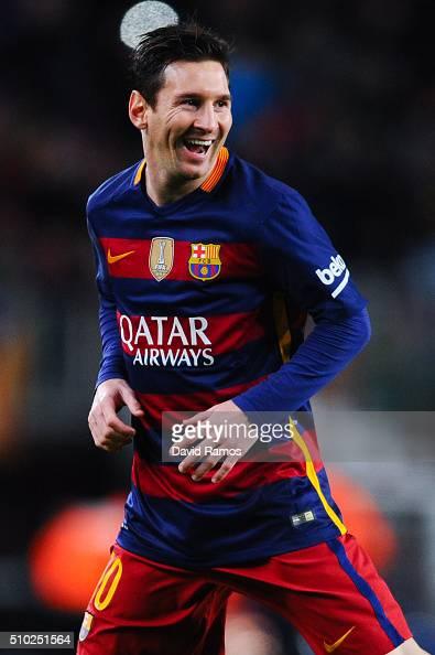 Lionel Messi of FC Barcelona celebrates after scoring the opening goal during the La Liga match between FC Barcelona and Celta Vigo at Camp Nou on...