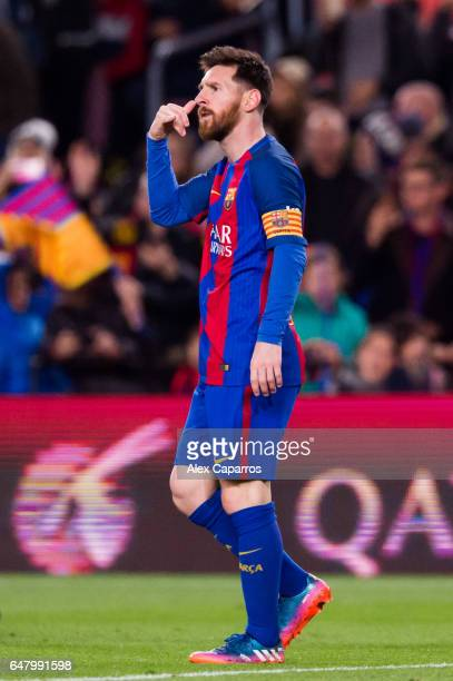 Lionel Messi of FC Barcelona celebrates after scoring the opening goal during the La Liga match between FC Barcelona and RC Celta de Vigo at Camp Nou...