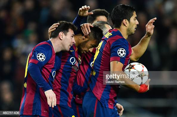 Lionel Messi of FC Barcelona celebrates after scoringm their first goal during the UEFA Champions League group F match between FC Barcelona and Paris...