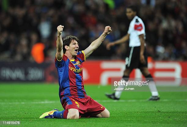 Lionel Messi of FC Barcelona celebrates as David Villa scores the third goal during the UEFA Champions League final between FC Barcelona and...