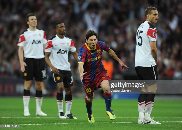Lionel Messi of FC Barcelona celebrates scoring his teams second goal during the UEFA Champions League final between FC Barcelona and Manchester...