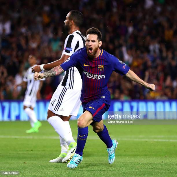 Lionel Messi of FC Barcelona celebrates scoring the opening goal during the UEFA Champions League Group D match between FC Barcelona and Juventus at...