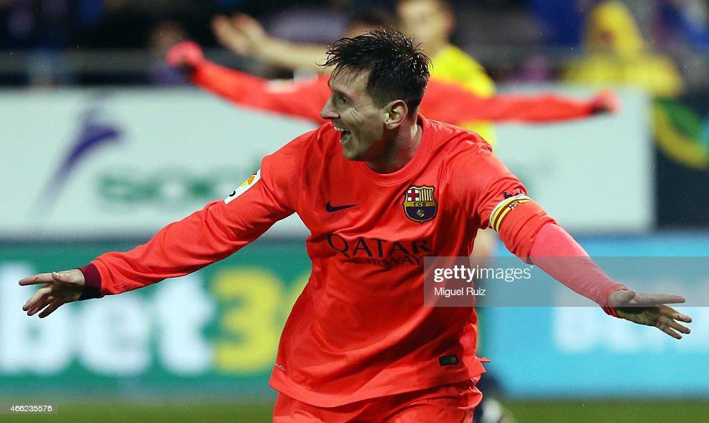 Lionel Messi of FC Barcelona celebrates scoring the second goal during the La Liga match between SD Eibar and FC Barcelona at Ipurua Municipal Stadium on March 14, 2015 in Eibar, Spain.