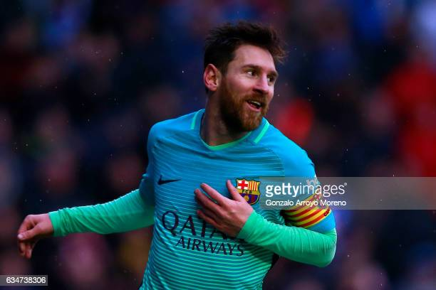 Lionel Messi of FC Barcelona celebrates scoring their fourth goal during the La Liga match between Deportivo Alaves and FC Barcelona at Estadio de...
