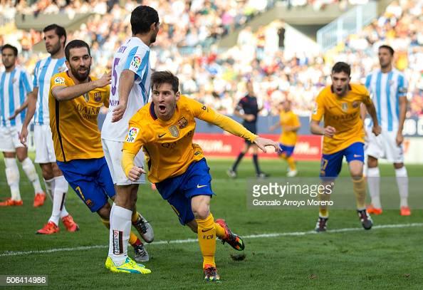 Lionel Messi of FC Barcelona celebrates scoring their second goal during the La Liga match between Malaga CF and FC Barcelona at La Rosaleda Stadium...