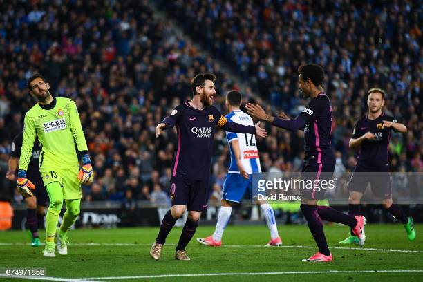 Lionel Messi of FC Barcelona celebrates with his team mate Neymar Jr after Ivan Rakitic of FC Barcelona scored his team's second goal during the La...