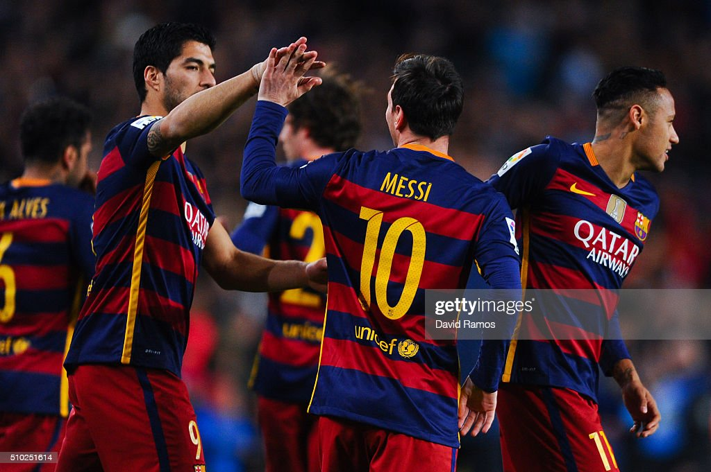 <a gi-track='captionPersonalityLinkClicked' href=/galleries/search?phrase=Lionel+Messi&family=editorial&specificpeople=453305 ng-click='$event.stopPropagation()'>Lionel Messi</a> of FC Barcelona celebrates with his teammates Neymar (L) and Luis Suarez of FC Barcelona after scoring the opening goal during the La Liga match between FC Barcelona and Celta Vigo at Camp Nou on February 14, 2016 in Barcelona, Spain.
