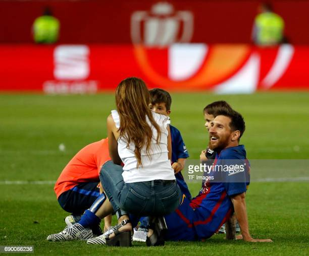 Lionel Messi of FC Barcelona celebrates with his wife Antonella Roccuzzo and children after winning the Copa Del Rey Final between FC Barcelona and...