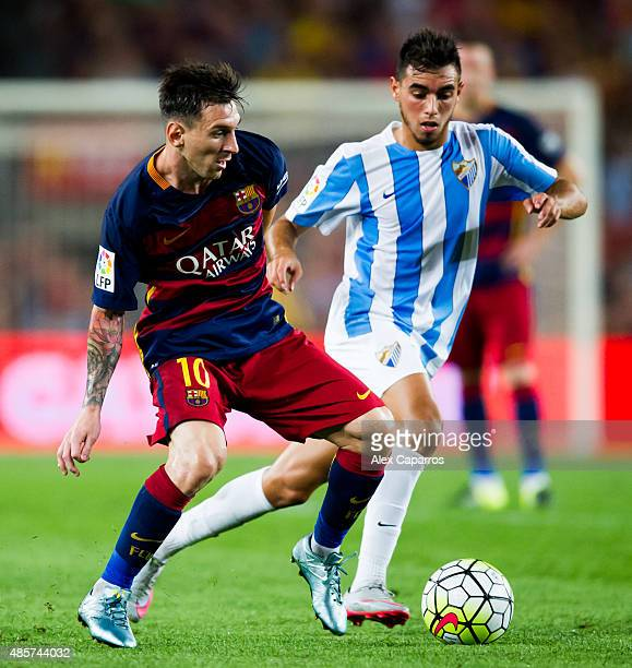 Lionel Messi of FC Barcelona controls the ball during the La Liga match between FC Barcelona and Malaga CF at Camp Nou on August 29 2015 in Barcelona...