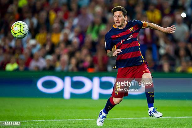 Lionel Messi of FC Barcelona controls the ball during the La Liga match between FC Barcelona and Levante UD at Camp Nou on September 20 2015 in...