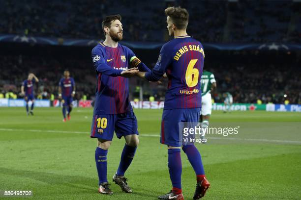 Lionel Messi of FC Barcelona Denis Suarez of FC Barcelona during the UEFA Champions League group D match between FC Barcelona and Sporting Club de...