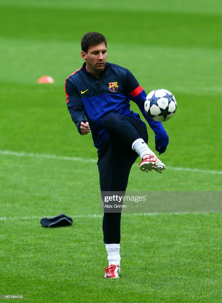 <a gi-track='captionPersonalityLinkClicked' href=/galleries/search?phrase=Lionel+Messi&family=editorial&specificpeople=453305 ng-click='$event.stopPropagation()'>Lionel Messi</a> of FC Barcelona during a training session ahead of the UEFA Champions League semi-final first leg against FC Bayern Muenchen at Allianz Arena on April 22, 2013 in Munich, Germany.