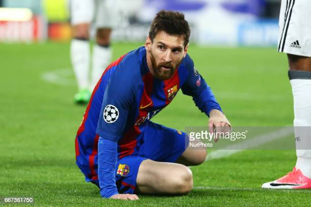 Lionel Messi of FC Barcelona during the UEFA Champions League Quarter Final first leg match between Juventus and FC Barcelona at Juventus Stadium on...
