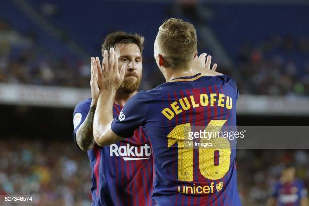 Lionel Messi of FC Barcelona Gerard Deulofeu of FC Barcelona during the Trofeu Joan Gamper match between FC Barcelona and Chapecoense on August 7...