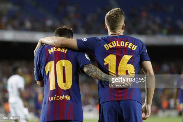 Lionel Messi of FC Barcelona Gerard Deulofeu of FC Barcelona during the Trofeu Joan Gamper match between FC Barcelona and Chapecoense on August 7...