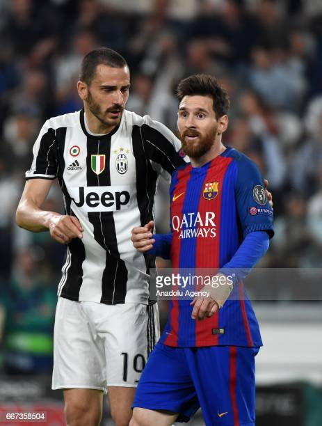 Lionel Messi of FC Barcelona gestures during the UEFA Champions League Round of 4 first leg match between FC Juventus and Barcelona FC at Juventus...