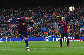 Lionel Messi of FC Barcelona heads the ball towards goal during the La Liga match between FC Barcelona and UD Almeria at Camp Nou on April 8 2015 in...