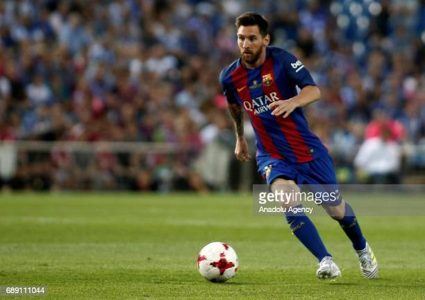 Lionel Messi of FC Barcelona in action during the Copa Del Rey Final between FC Barcelona and Deportivo Alaves at Vicente Calderon Stadium on May 27...