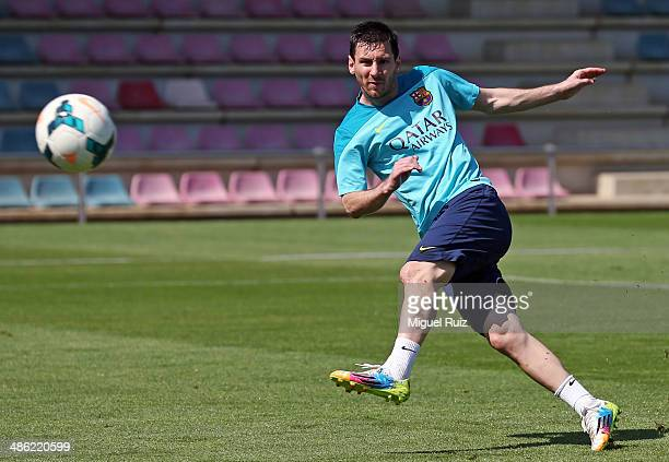 Lionel Messi of FC Barcelona in action during the training session at Ciutat Esportiva on April 23 2014 in Barcelona Spain