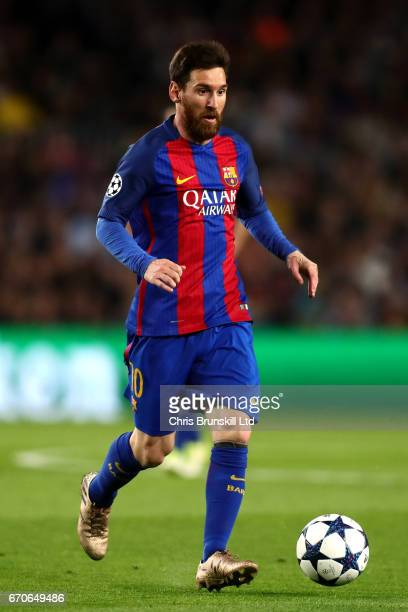 Lionel Messi of FC Barcelona in action during the UEFA Champions League Quarter Final second leg match between FC Barcelona and Juventus at Camp Nou...