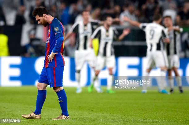 Lionel Messi of FC Barcelona is disappointed after a goal of Juventus FC during the UEFA Champions League football match between Juventus FC and FC...