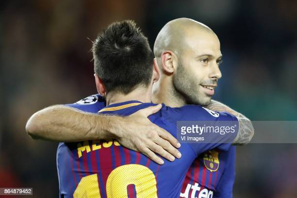Lionel Messi of FC Barcelona Javier Mascherano of FC Barcelona during the UEFA Champions League group D match between FC Barcelona and Olympiacos on...