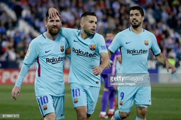 Lionel Messi of FC Barcelona Jordi Alba of FC Barcelona Luis Suarez of FC Barcelona during the Spanish Primera Division match between Leganes v FC...