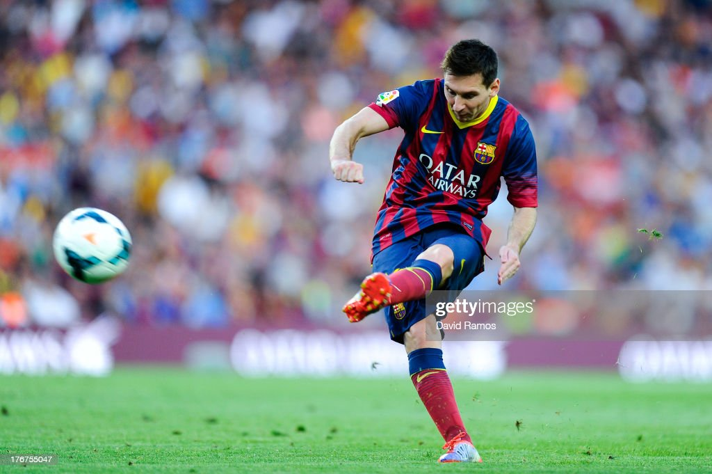 <a gi-track='captionPersonalityLinkClicked' href=/galleries/search?phrase=Lionel+Messi&family=editorial&specificpeople=453305 ng-click='$event.stopPropagation()'>Lionel Messi</a> of FC Barcelona kicks the ball during the La Liga match between FC Barcelona and Levante UD at Camp Nou on August 18, 2013 in Barcelona, Spain.