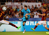Lionel Messi of FC Barcelona kicks the ball during the UEFA Champions League Group E match between AS Roma and FC Barcelona at Stadio Olimpico on...