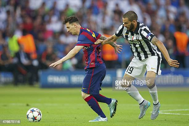 Lionel Messi of FC Barcelona Leonardo Bonucci of Juventus FC during the UEFA Champions League final match between Barcelona and Juventus on June 6...