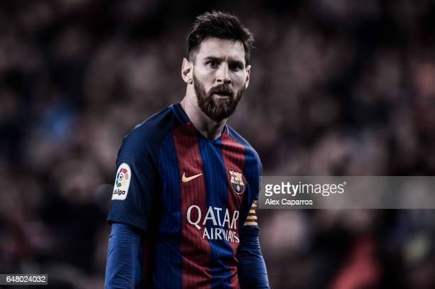 Lionel Messi of FC Barcelona look on during the La Liga match between FC Barcelona and RC Celta de Vigo at Camp Nou stadium on March 4 2017 in...