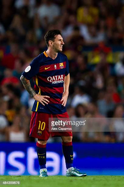 Lionel Messi of FC Barcelona looks dejected after Aritz Aduriz of Athletic Club scored his team's first goal during the Spanish Super Cup second leg...