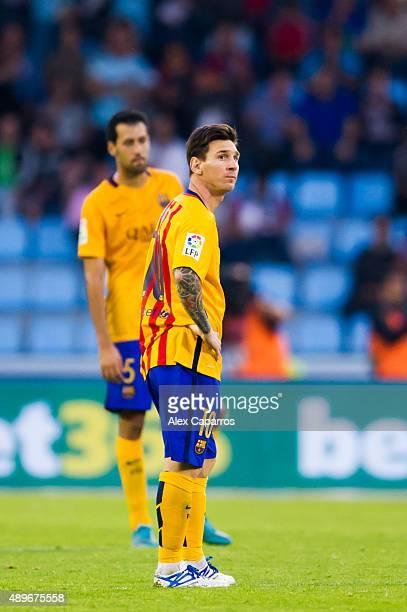 Lionel Messi of FC Barcelona looks dejected after Iago Aspas of Celta Vigo scored his team's second goal during the La Liga match between Celta Vigo...