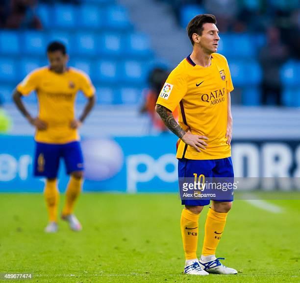 Lionel Messi of FC Barcelona looks dejected after Manuel Agudo 'Nolito' of Celta Vigo scored the opening goal during the La Liga match between Celta...