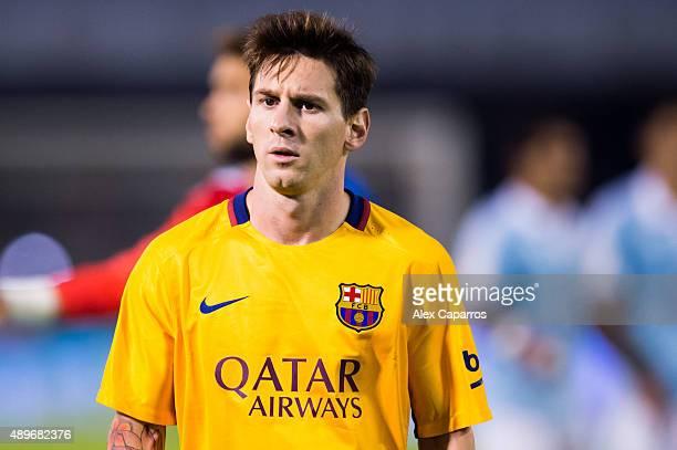 Lionel Messi of FC Barcelona looks dejected after the La Liga match between Celta Vigo and FC Barcelona at Estadio Balaidos on September 23 2015 in...